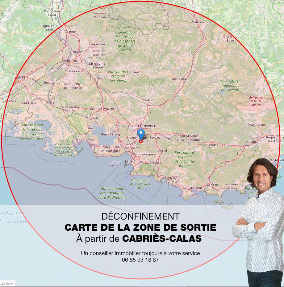 Carte de déconfinement depuis Cabriès-Calas (13480) - 100 km